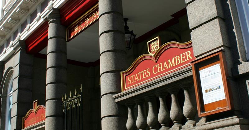 Public entrance to States Chamber in Jersey Channel Islands